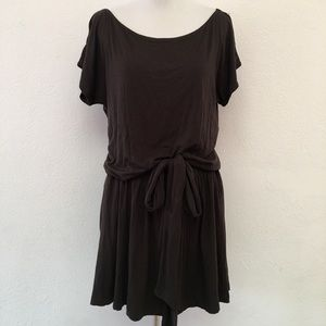 Theory Brown Jersey Tie Waist Mini Dress size M